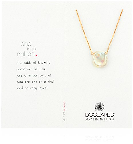 Dogeared Rose Gold One In A Million Keshi Pearl Chain Necklace, 18