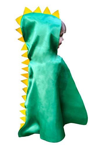 Dinosaur Cape Costume Hood with Spikes Boy Girl Toddler Gift Green for Imaginative Easy Play -