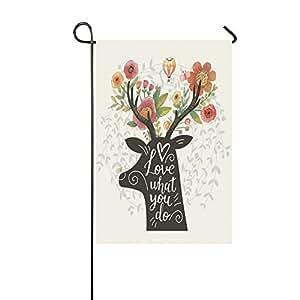 interestprint Life Quote Awesome, poliéster de flores jardín bandera casa Banner 12x 18inch, ciervo Love What You Do bandera decoración para boda fiesta Patio Decoración de la casa al aire libre