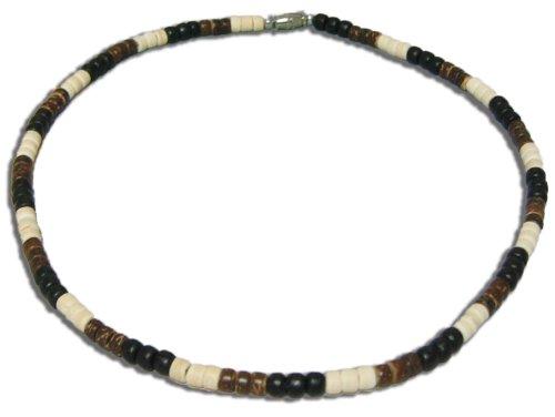 "Native Treasure - 16"" Black, Brown, Cream Wood Coco Bead Necklace - 5mm (3/16"")"