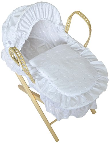 Cuddles Collection Dolls Moses Basket with Stand (White)