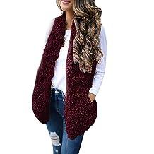 WuyiMC Women Artificial Wool Coat Jacket Lapel Winter Jacket Cardigan Coat