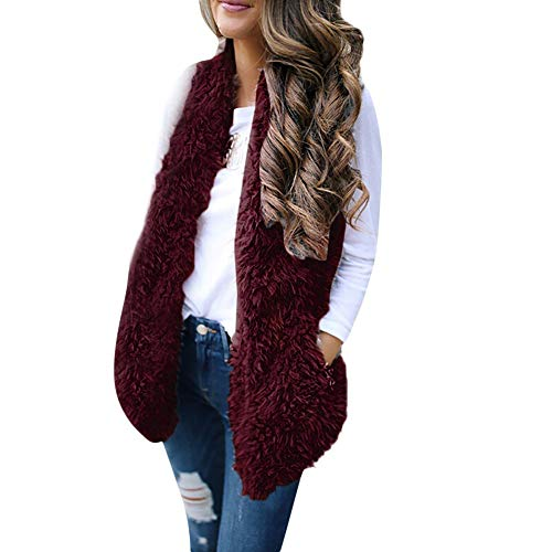 YUEZIHUAHUA Women Coats Casual Ladies Sexy Body Coat Faux Fur Solid Sleeveless Warm Vest Waistcoat Short Jacket (M, Wine Red) ()
