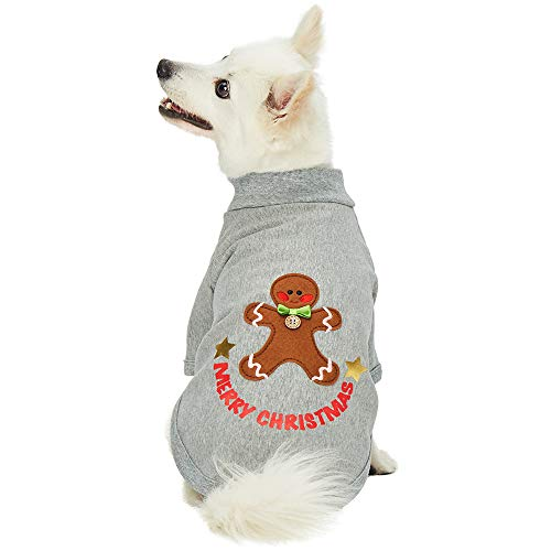 Blueberry Pet 2019/2020 New Soft & Comfy Merry Christmas Holiday Festive Ginger Bread Pullover Turtleneck Fall Winter Dog Sweatshirt Coat, Back Length 12
