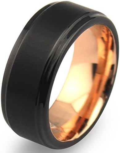 EZreal 8mm Black Tungsten Carbide Mens Wedding Bands with Matte Center & Comfort Fit Rose Gold Plated Interior, Rose Gold Engagement Rings for Women Promise Rings for Her Unique Wedding Rings