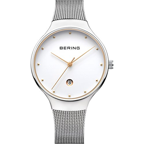 BERING Time 13338-001 Mens Classic Collection Watch with Mesh Band and scratch resistant sapphire crystal. Designed in Denmark.