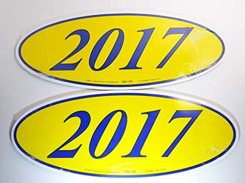 - Great Link Oval Model Year Windshield Dealer 2 Dozen Stickers Blue & Yellow Window Sticker (B/Y 2017)