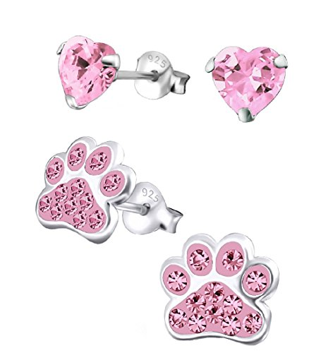 925 Sterling Silver Set of 2 Pairs Pink Paw Print & Pink CZ Heart Stud Earrings for Girls (Nickel Free)