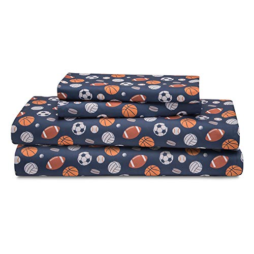 HowPlum Sport Twin Sheet Set Microfiber Kids Boys Athlete Soccer Football Bedding, Blue