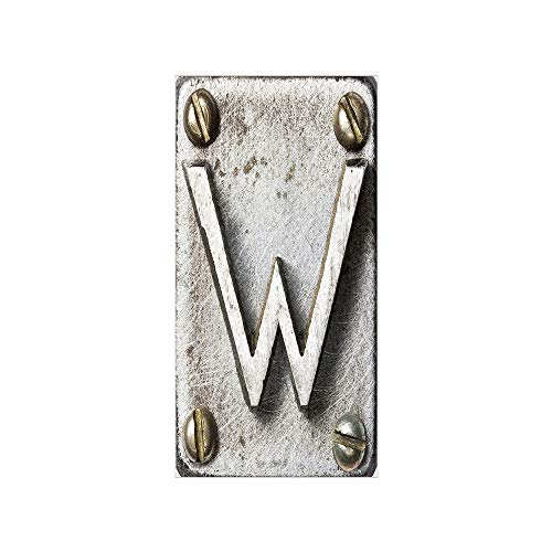 (3D Decorative Film Privacy Window Film No Glue,Letter W,Uppercase W Bolt Screws Industrial Kitsch Artful Symbolic Person Initials Image Decorative,Silver Gold,for Home&Office)