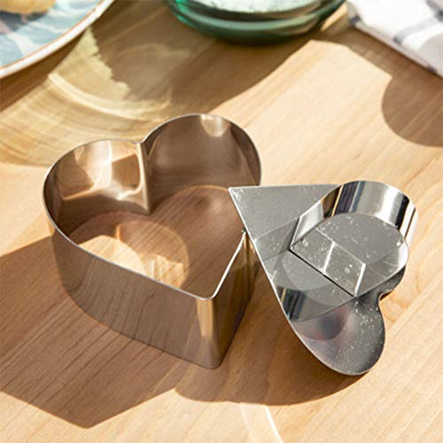 Stainless Steel Cake Mold, Heart Shape Dessert Mousse Mold with Food Press Cake Rings Baking Mold Ring Kitchen Pastry Tools