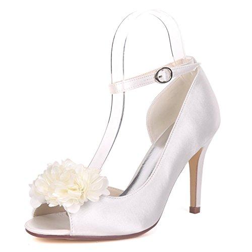 Demoiselles Toe Grande yc L Taille Mariage Peep De 9cm Femmes Chaussures Pour Talon Chunky White Sandales D'honneur Party Mariée pxqzxw8