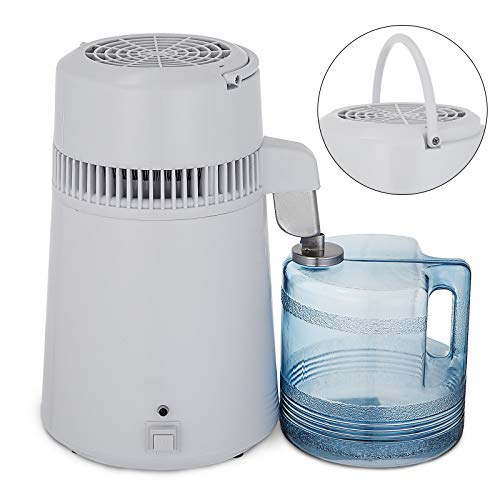 (VEVOR Stainless Steel Water Distiller 750W Water Distillation Kit 1.1 Gallon/4 L Water Distiller Home Countertop Connection Bottle Food-Grade Outlet Glass Container (White))