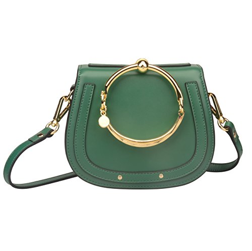 Ainifeel Women's Leather Handbags With Bracelet Handle On Clearance (Dark green(leather+suede)) by Ainifeel