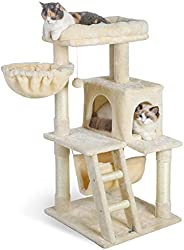Dooradar 39-in Cat Tree Tower with Condo for Indoor Cats, Multi-Tier Cat Furniture with Sisal Scratching Post,