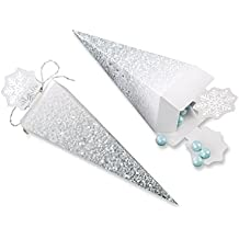 Kate Aspen Silver Snowflake Cone Favor Box (Set of 12), Silver and White