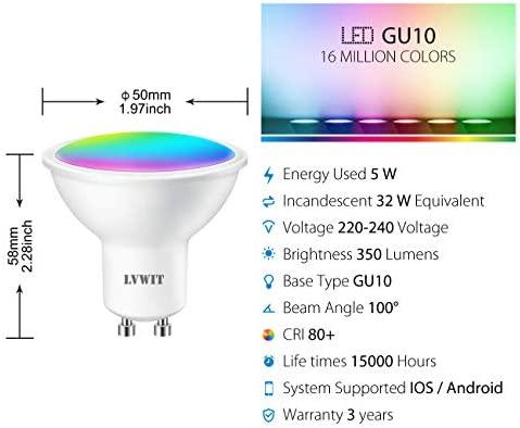 LVWIT Bombillas LED GU10 Inteligente WiFi Regulable 5W 350 Lm, Lámpara Multicolor Bombilla Funciona con Alexa, Asistente de Google y App Tuya, ...