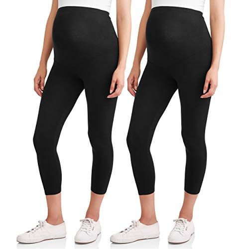 Maternity Black Capri Pants - RUMOR HAS IT Maternity Over The Belly Capri Crop Support Leggings (Small, Black (2 Pack))