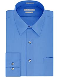 Men's Poplin Fitted Solid Point Collar Dress Shirt