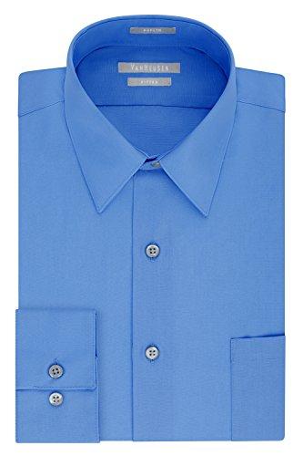 Van Heusen Men's Poplin Fitted Solid Point Collar Dress Shirt, Pacifico, 16.5