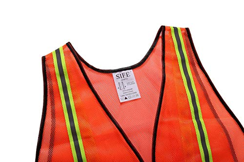 SIFE High Visibility Reflective Safety Vest with 1 Inch Reflective Strips,Made from Breathable and Neon Orange Mesh Fabric,Universal Size,10 pack by SIFE (Image #3)