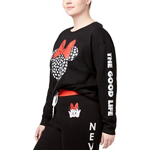 (Disney Womens Plus The Good Life Graphic Fleece Sweatshirt, Crew Black)