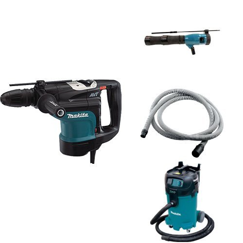 Makita HR4510C 1-3/4-Inch AVT Rotary Hammer, 196074-8 Dust Extraction Attachment Kit, 192108-A 3/4-Inch by 10-foot Vacuum Hose, VC4710 12 Gallon Xtract Vac Wet/Dry Dust Extractor/Vacuum