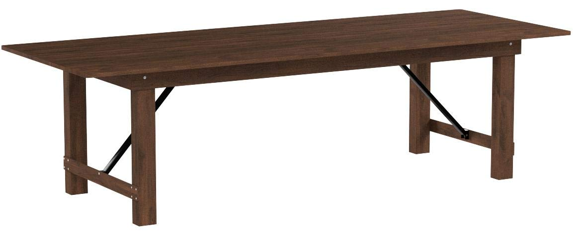 Flash Furniture HERCULES Series 9' x 40'' Antique Rustic Solid Pine Folding Farm Table by Flash Furniture (Image #4)