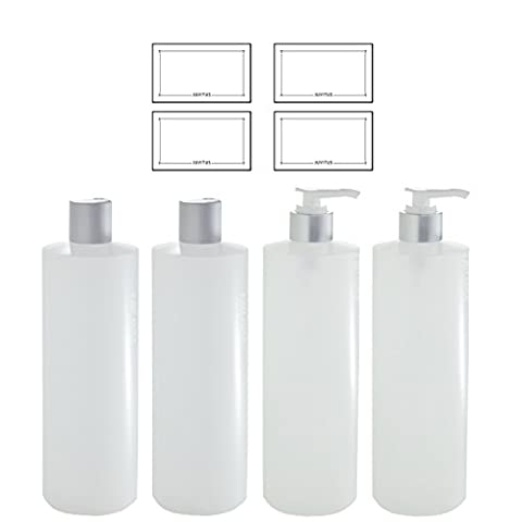 Clear Natural Refillable Plastic Squeeze Bottles with Silver Lotion Pumps and Disc Caps - 16 oz each (4 Pack - 2 of Each) + (16 Oz Plastic Cylinder Bottles)