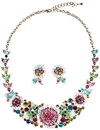 Costume Jewelry Flowers Crystal Choker Pendant Statement...