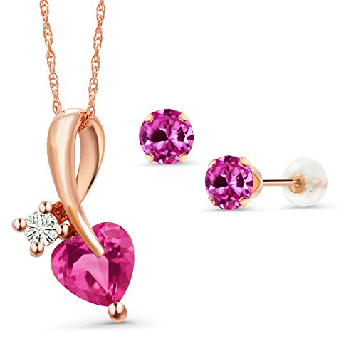 Gem Stone King 2.00 Ct Heart Shape Pink Created Sapphire 10K Rose Gold Pendant Earrings Set