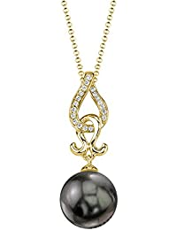 14K Gold Round Black Tahitian South Sea Cultured Pearl & Diamond Judy Pendant Necklace for Women