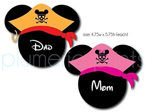 HANDMADE Disney Inspired Pirate His and Her Mouse Head Magnets for Disney Cruise