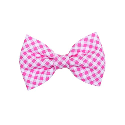 (THE DOK Sweet Pink Gingham - Dog Cat Pet Bow Tie Bowtie Collar Accessory 4 inch)