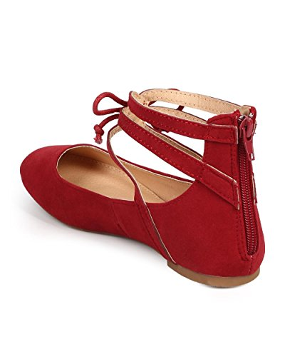 Toe Tie Flat Round DF64 Ballet Maroon Caged Misbehave Suede Gilly Women Bow xwTFqwYSI