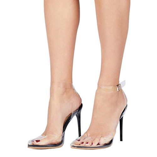 UMEXI Women's Strappy Lucite Clear Stiletto High Pointy Toe Slingback Sandal Shoe Pumps Black Size 6