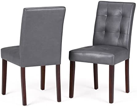 Simpli Home AXCDCHR-004-G Andover Contemporary Parson Dining Chair Set of 2 in Stone Grey Faux Leather