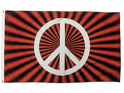 FlagSource Red Peace Sign Nylon Decorative Flag, Made in The USA, 3x5'