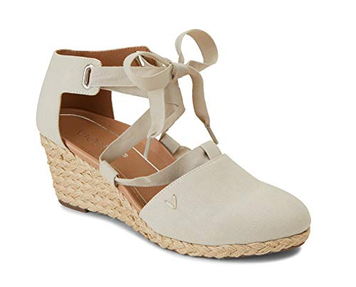Vionic Women's Aruba Kaitlyn Lace-up Wedge - Ladies Espadrille Wedges with Concealed Orthotic Arch Support Oat 8.5 W - Wedge Concealed