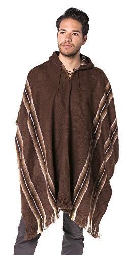 (Gamboa Alpaca Poncho - Hooded, Brown, OS)