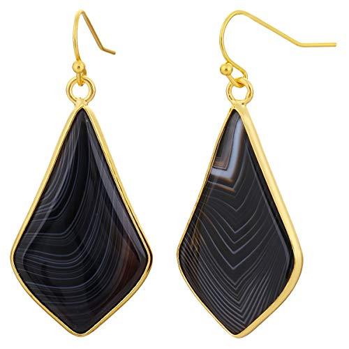 TUMBEELLUWA Crystal Quartz Stone Dangle Hook Earrings Rhombus Gold Plated, Banded Agate