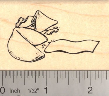 (Chinese Fortune Cookie Rubber Stamp)