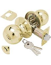 Wolfpack deurknop met slot en sleutel, messing