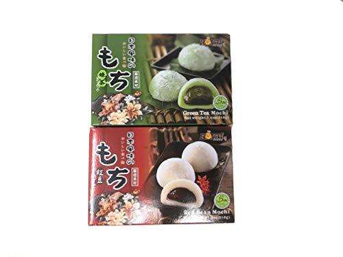 Royal Family Japanese Rice Cake Mochi Daifuku (Red Bean & Green Tea) Total 14.8 Ounec (Best Green Tea Cake)