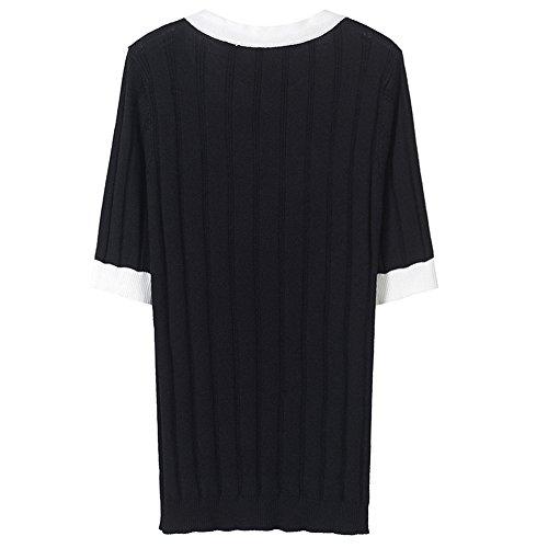 Xmy El Vídeo Negro De shirt Polo Salvaje Corta T Sau Golpeó Verano Manga Delgado Color Girls vrwpYv