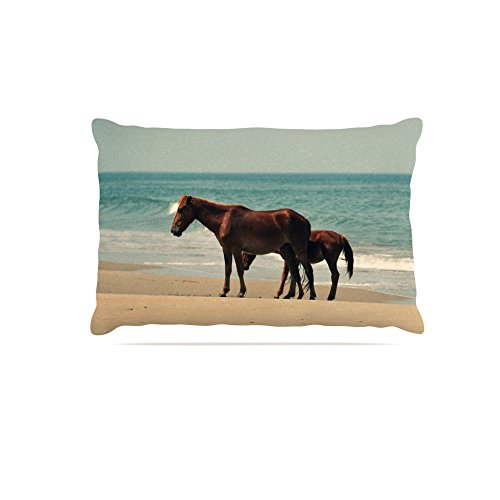 30 by 40\ Kess InHouse Robin Dickinson Sandy Toes  Beach Horses Fleece Dog Bed, 30 by 40