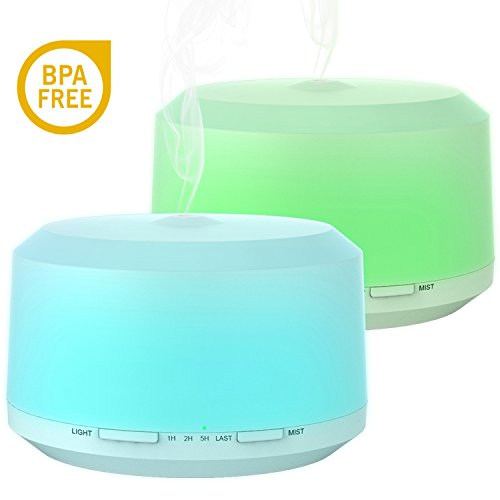 Essential Oil Diffuser 2 Pack, BAXIA TECHNOLOGY 450ml Aromatherapy Diffusers for Essential Oils Ultrasonic Humidifier with 4 Timer Settings Mist, 8 LED Color Moon Light and Waterless Auto Shut-off