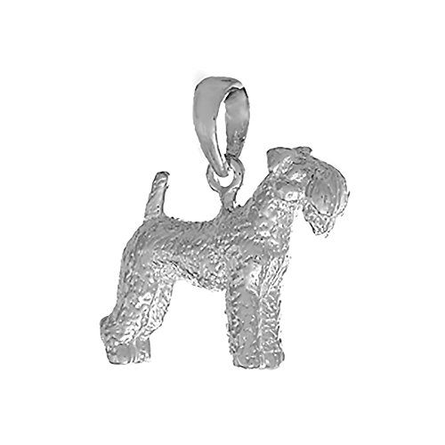 Dog Charm Kerry Terrier Blue (925 Sterling Silver Dog Charm Pendant, 3D Kerry Blue Terrier Textured)