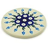 Polish Pottery Coaster 3-inch Floral Peacock