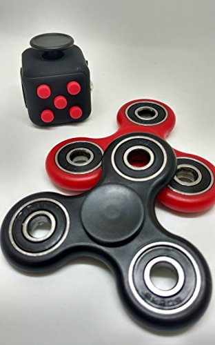3 PC Red Black Fidget Cube + 2 Pack Black and Red Fidget Hand Spinner Combo Bulk Multiple Tri-Spinner EDC Stress Desk Classroom Fidgeting Brain Focus Desk Toy Reliever Autism Kids Adults Relax - 6